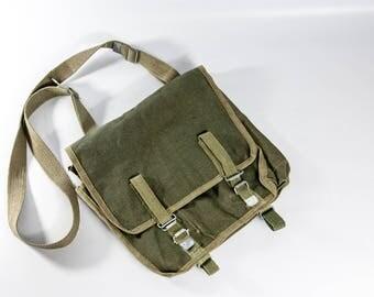 Military men's messenger bag, Polish military bag, vintage army bag, vintage bag, military green bag, bag with strap, men's shoulder bag