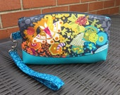 Bright butterfly wristlet  clutch bag clematis wristlet Alison Glass Ex Libris gift for mum  make up bag  pencil case  summer bag