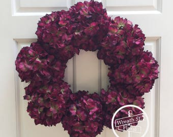 Hydrangea Wreath, Plum Wreath, Front Door Wreath, Grapevine Wreath, All Season Wreath, Everyday Wreath, Grapevine Wreath, Door Wreath