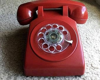 VINTAGE HAND-PAINTED Functional Cherry Red Western Electric Buffalo Valley Telephone Co. Model 500 Rotary Phone