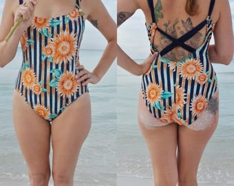 Vintage 70s Sunflower One Piece Bathing Suit (Sessa)