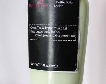 Handmade Green Tea & peppermint oil shea butter body lotion with jojoba and grapeseed oil