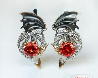 FANTASY gift for her Dragon earrings  inspired by GAME of THRONES sterling silver Drachen Ohrringe draak oorbellen pendientes dragón