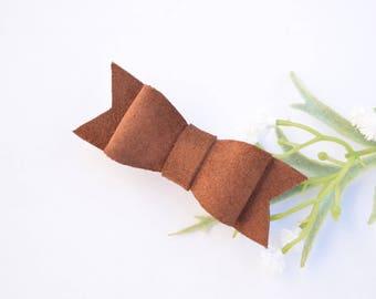 Brown Suede Bow, Clip or Headband, toddler hair clips, baby headband, neutral headband