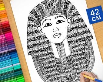 Affiche / Poster déco à colorier (42cm) Toutankhamon - coloriage pour adulte