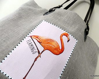 """flamingo"" pink Flamingo pattern linen tote bag"