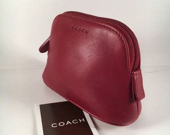 Coach Bag / Vintage Coach Case / Vintage Coach Makeup Bag / Coach Purse / Red Leather /