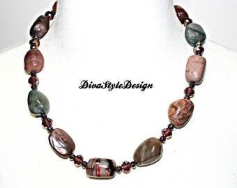 Beautiful Polished Agate Statement Necklace