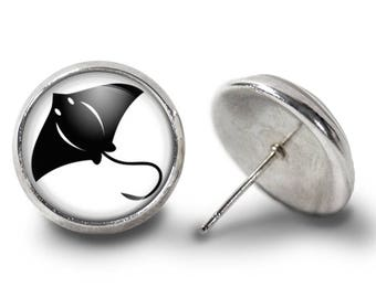 Stingray Earrings - Manta Ray Earrings - MantaRay Earrings - Stingray Jewelry for Her (Pair) Lifetime Guarantee (E0409)