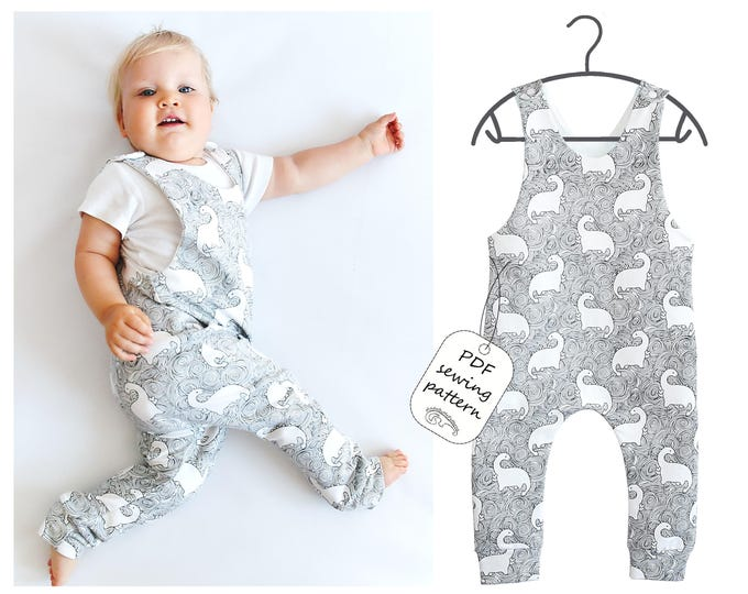 Featured listing image: Romper pattern PDF, baby romper pattern PDF, kids romper pattern PDF, sewing patterns
