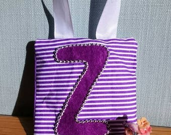 PURPLE stripe tooth fairy pouch door-hanger with PURPLE letter, SILVER beaded border, and purple diagonal pocket on reverse for tooth/coin.