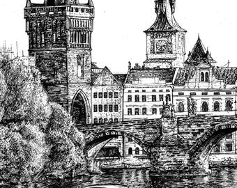 Prague Vltava River Art Print