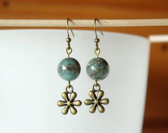 Earrings green Jasper and bronze beads, flower