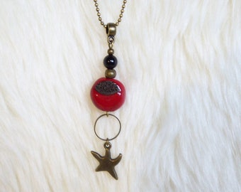 Bronze sea star and Red ceramic Bead Necklace necklace