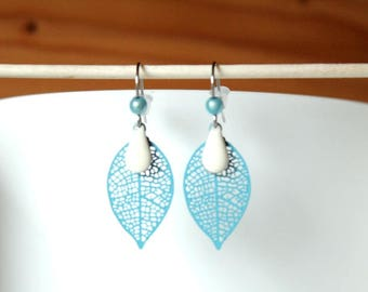 Blue filigree and creamy white enameled sequin drop leaf earrings