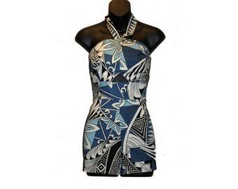Plus Size 1950s Hawaiian Tiki Romper/Playsuit/Jumpsuit, Rockabilly, Pin Up, Vintage, Retro for Women/Iolani/Tropical/Floral/Hawaiian Print