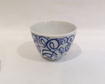 Sake or Egg Cup Vintage Chinese Blue Transferware