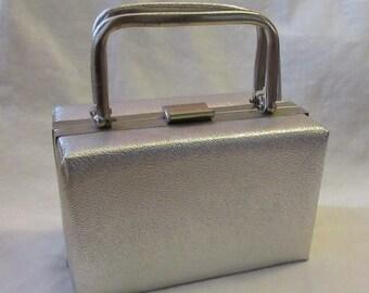 60s Silver Faux Leather Box Purse