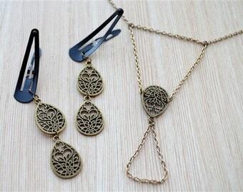 Accessory Set / Gift for her / Boho Jewelry / Haath Phool / Chain Linked Ring and Bracelet - Hand Jewelry - Hand Flower - Handflower - Boho