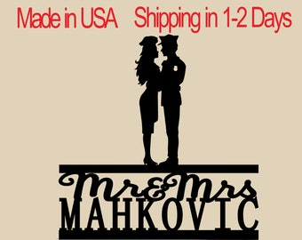 Policeman And Woman Cook Cake Topper, Personalized Cake Topper, Wedding Cake Topper,  Shower Topper, Wedding Decoration, Silhouette,  CT197
