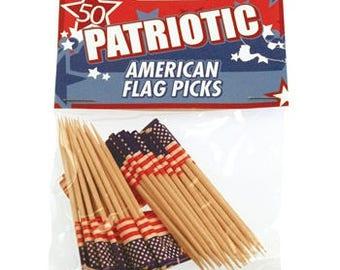 USA Flag Pick 50/Pk, USA, Patriotic, Party, Cupcake Topper, American Flag, Military
