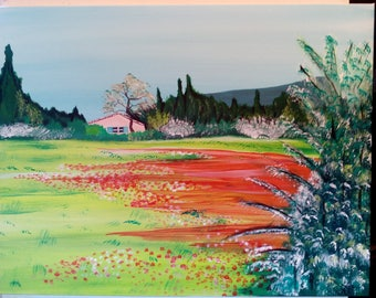Provence landscape in summer, Acrylic paint