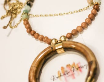 Tan/blue multi bead statement necklace