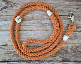 Cotton Rope Dog Leash - Orange | Dog Leash | Dog Lead | Rope Dog Leash | Hand Dyed Cotton | Pet Accessory | Dog Lover Gift |