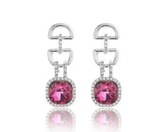 Luxurious Pink Geometric Chandelier Drop Earrings