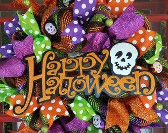 Happy Halloween Skeleton Mesh Door Wreath, Skeleton  Door Wreath, Halloween Door Decor, Halloween Mesh Wreath, Fall Door Wreath