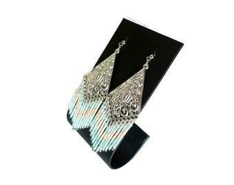 Earrings silver and Mint green Miyuki beads.