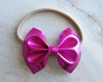 Hot pink metallic faux leather bow