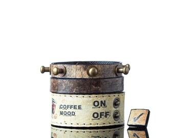 Coffee Bracelet | Three Part Leather Bracelet, Mood Bracelets, Handmade, Faux Leather, Eco Leather, Bracelet, Print, Quote, Coffee Mood