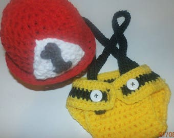 Newborn/ Crochet/Firefighter hat with diaper cover/Red/Yellow/Grey/Photo Prop
