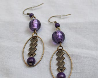 """""""All in Bronze and purple"""" earrings"""