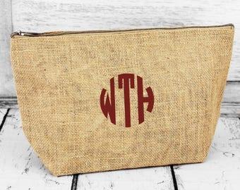 Tan Jute Cosmetic Pouch, monogrammed makeup bag, clutch, case.