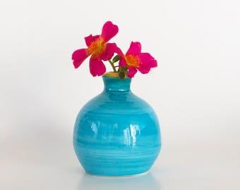 Mini Blue Wheel Thrown Windowsill Vase