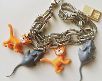 1980s vintage plastic cats, rats and rat trap miniatures silver tone bracelet