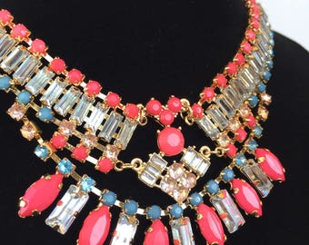 Diamonte and Beaded Delicate Copper Vintage Style Necklace