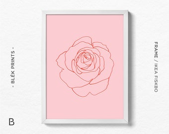 Flower Print, Botanical Prints, Floral Art, Printable Floral Poster, Minimalist Art, Flower Art Print, Line Art, Rose Print, Pink Home Decor