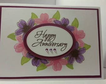 Purple Floral Anniversary Card