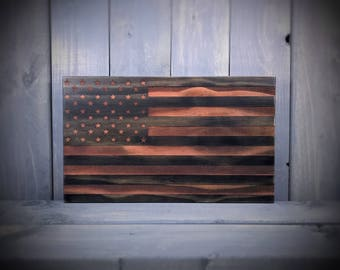 Rustic United States Engraved Flag - Wood American Flag - Rustic United States Flag - US Flag - Two Toned Flag - Wall Hanging - Personalized