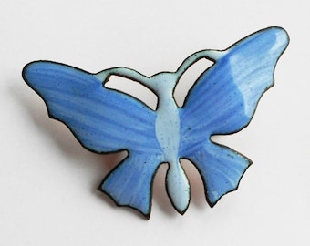 Vintage Blue Enamelled Butterfly Brooch, Boho 1980s Painted Copper Butterfly
