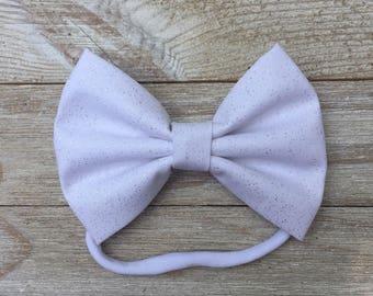 White sparkle bow   headband   baby girl bow   baby girl headband   kids bow   kids headband   toddler headband   bow