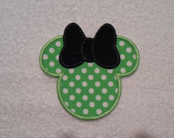 Green Polka Dot Minnie Mouse Iron on Applique Patch