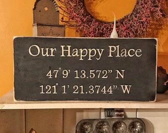 Latitude Longitude | My Happy Place | Sign Coordinates | Personalized Latitude Longitude Wood Sign | Longitude Wood Sign | Coordinate Sign