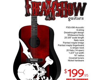 Graphic Acoustic Guitar PIRATE Design by FreakshowGuitars - FREE SHIPPING