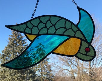 Large sea turtle stain glass suncatcher or glass panel