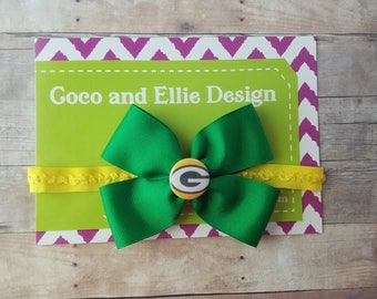 baby Packers bow headband-Green Bay Packers  headband-Packers headband-Packers headband for baby-Green Bay headband for baby