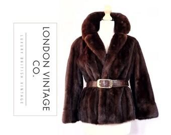 Vintage 1950's Mahogany/Dark Brown Mink real fur Jacket/coat/bolero.Small size.Winter wedding/vintage bride/vintage wedding